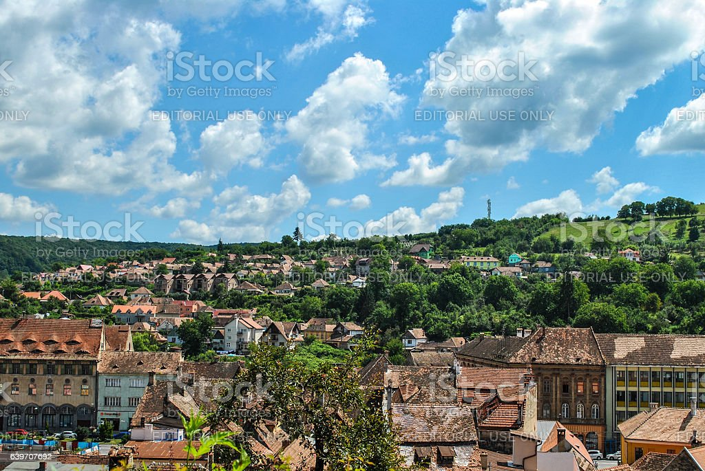The view from the tower of the city of Sighisoara, Transylvania, Romania stock photo