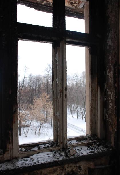 utsikten från fönstret i den brända gamla byggnaden på vintern. träd och snö utanför. - brand sotiga fönster bildbanksfoton och bilder