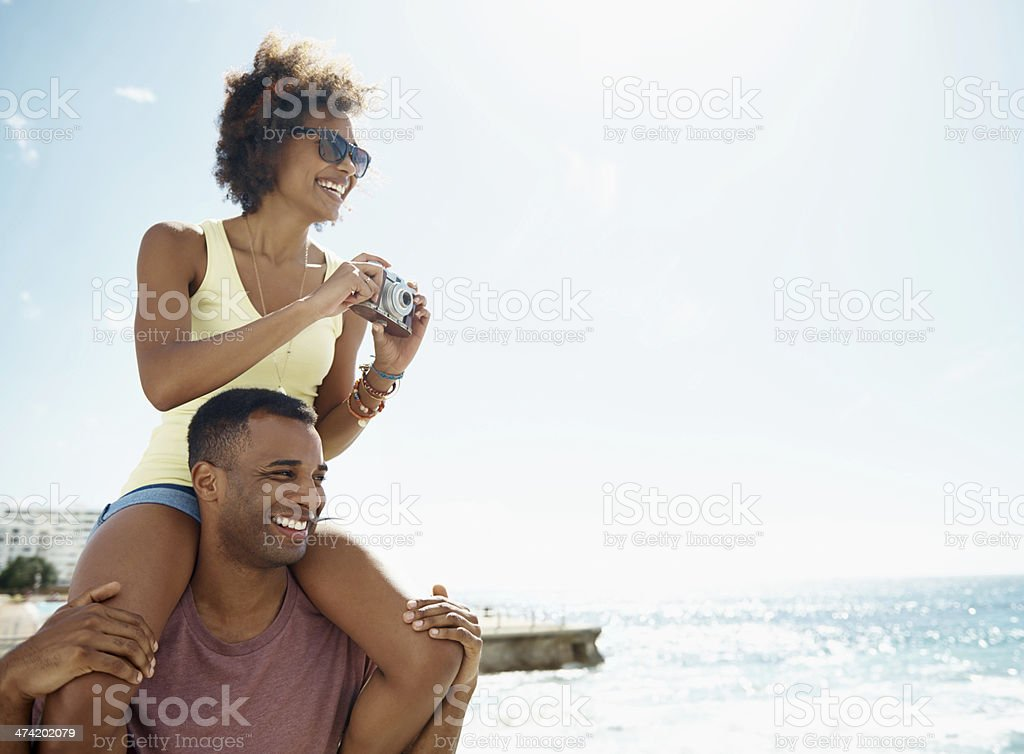 The view from up here is great! stock photo