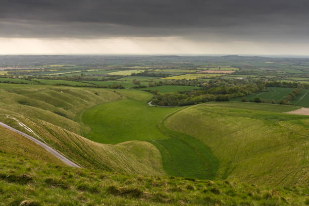 The view from white horse hill, Uffington, Oxfordshire, UK stock photo