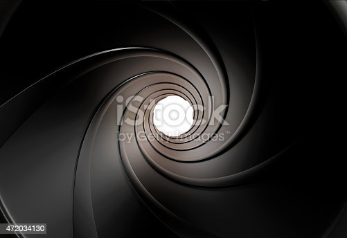 istock The view inside a gun barrel of the swirled grooves 472034130