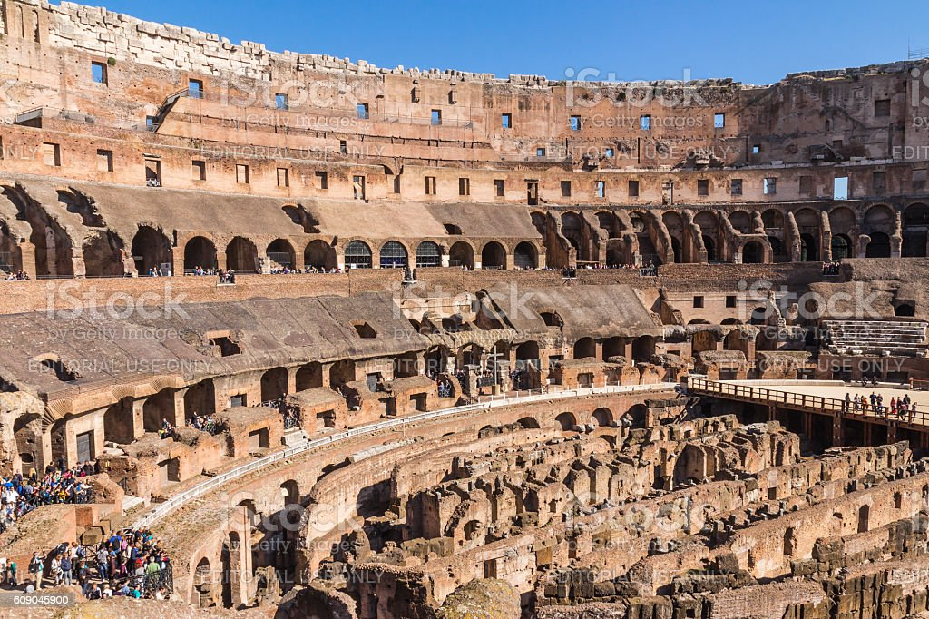 The view inside of the Colosseum stock photo