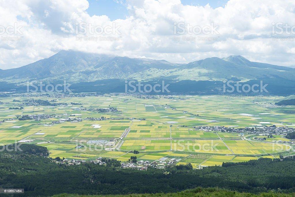 The view of Aso mountain. stock photo