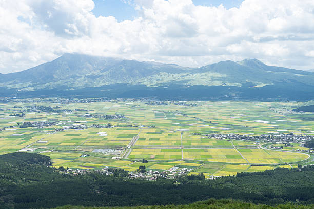 The view of Aso mountain. The view of Aso mountain. There is Aso mountain, rice field, town, forest and grasses in Japan. satoyama scenery stock pictures, royalty-free photos & images
