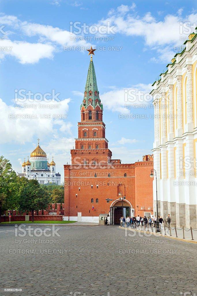 The view of Borovitskaya Tower in Moscow Kremlin stock photo