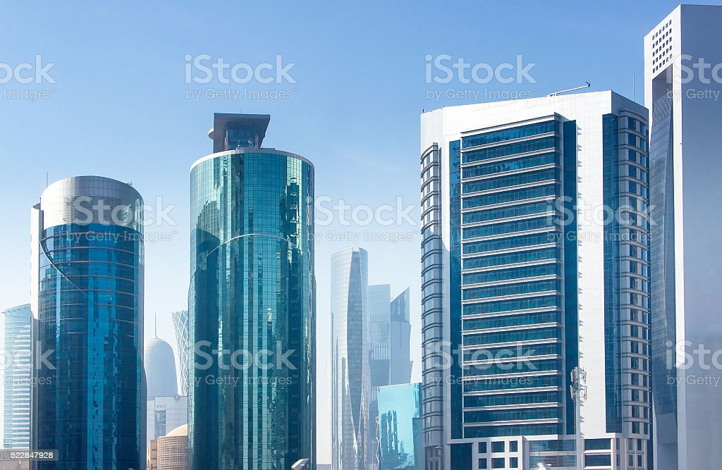 The View Of Business Center Of Doha Qatar Stock Photo & More