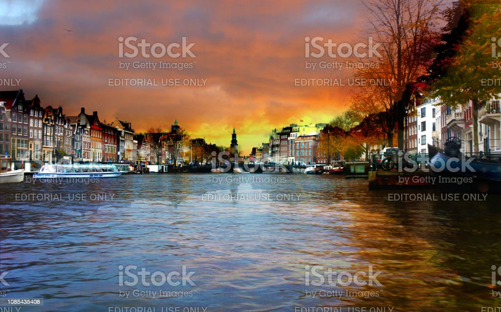 The view of canal of Amsterdam after the rain stock photo
