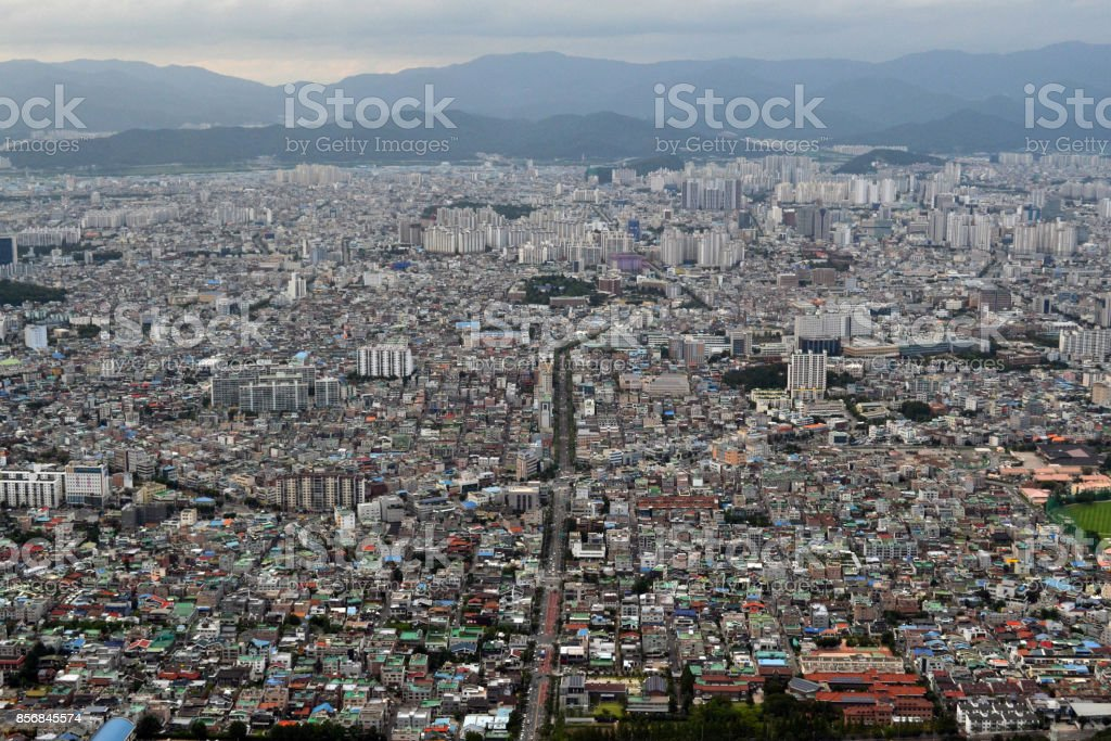 The view of Daegu City from Apsan Park Mountain. Pic was taken in August 2017 stock photo