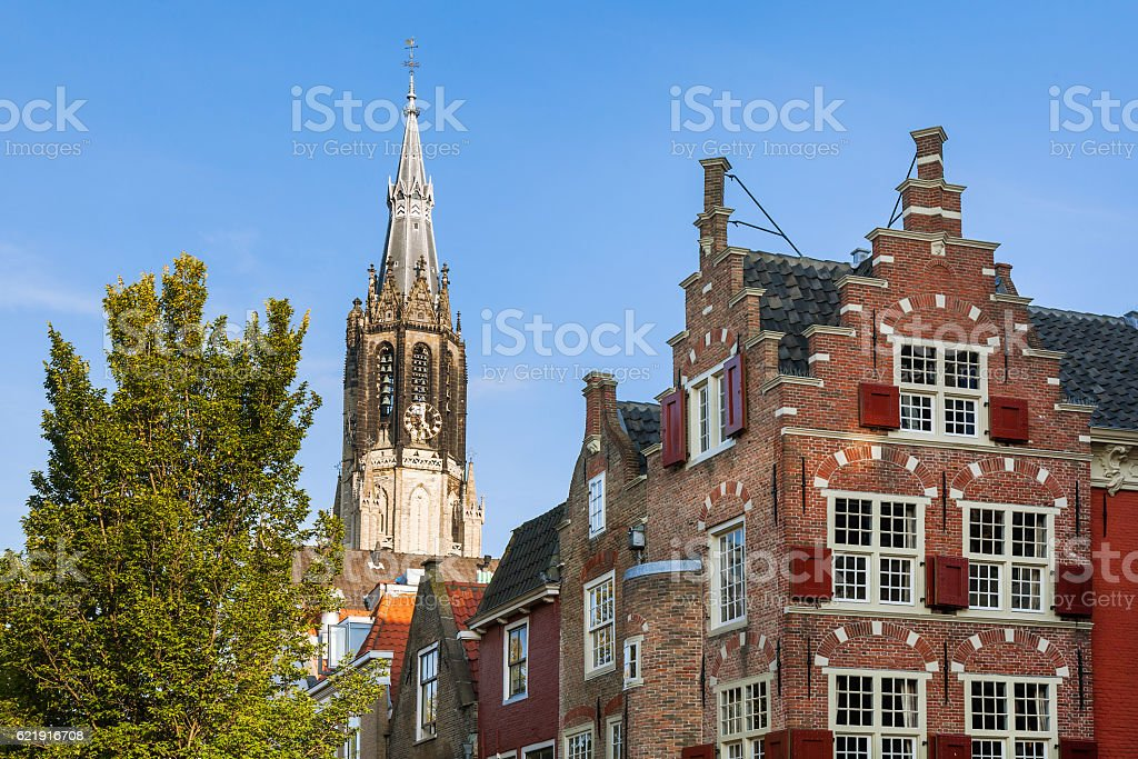 The view of gothic cathedral in Delft stock photo