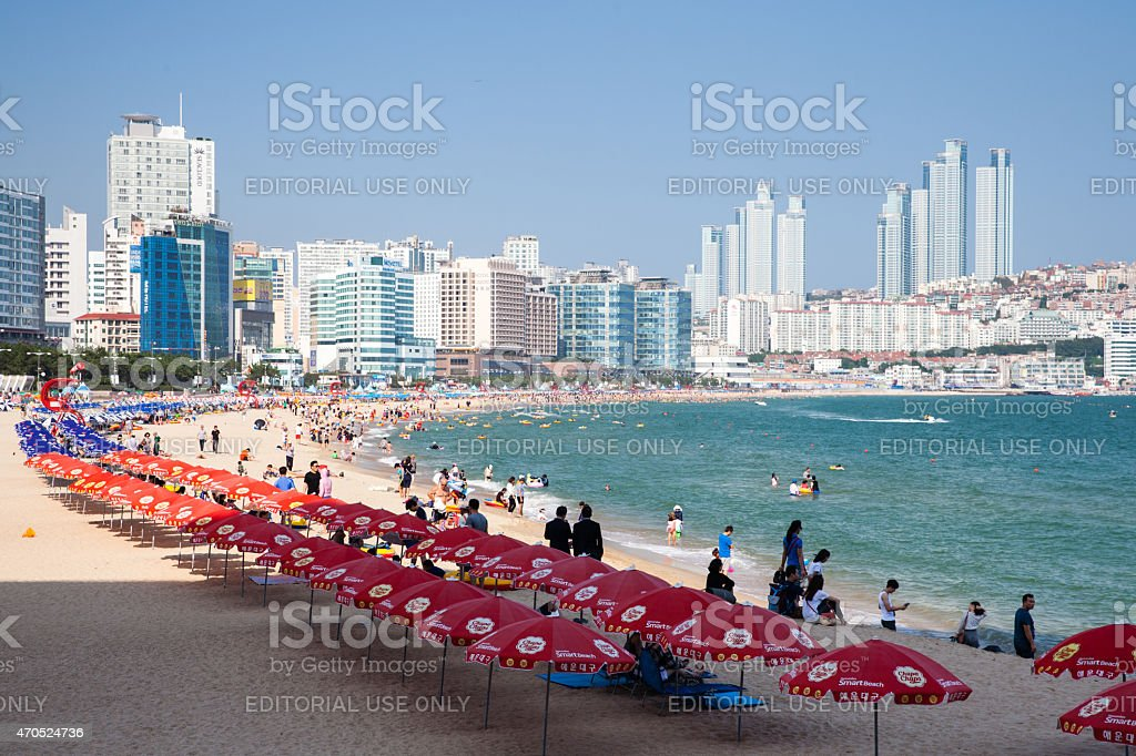 The view of Haeundae beach, Busan, South Korea. stock photo