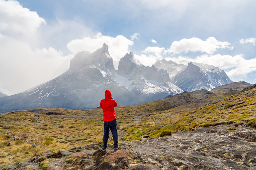 The view of Hiking trail in Torres del Paine National Park, Chile (Parque Nacional Torres del Paine)