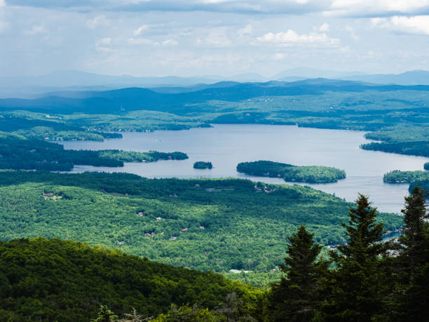 The view of Lake Sunapee from the top of Mount Sunapee in New Hampshire. stock photo