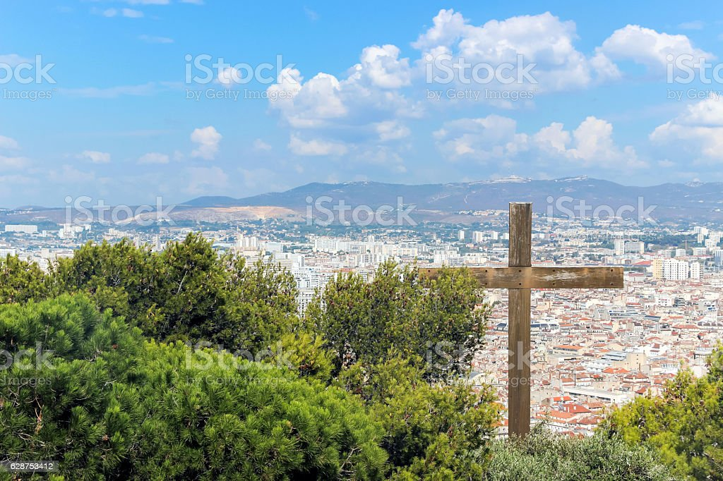 the view of Marseille from mountain stock photo