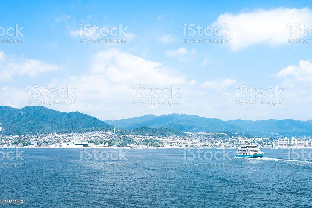 The view of Miyajima ferry, Miyajima guchi and Hatsukaichi, Japan stock photo