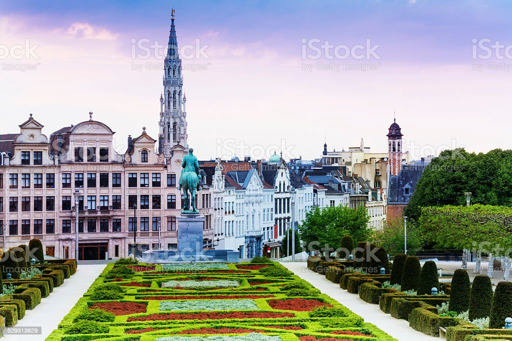 The view of Mont des Arts Garden and city Brussels The view of Mont des Arts Garden and Brussels panorama in Belgium Architecture Stock Photo