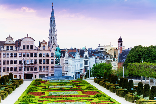 The View Of Mont Des Arts Garden And City Brussels Stock Photo - Download Image Now
