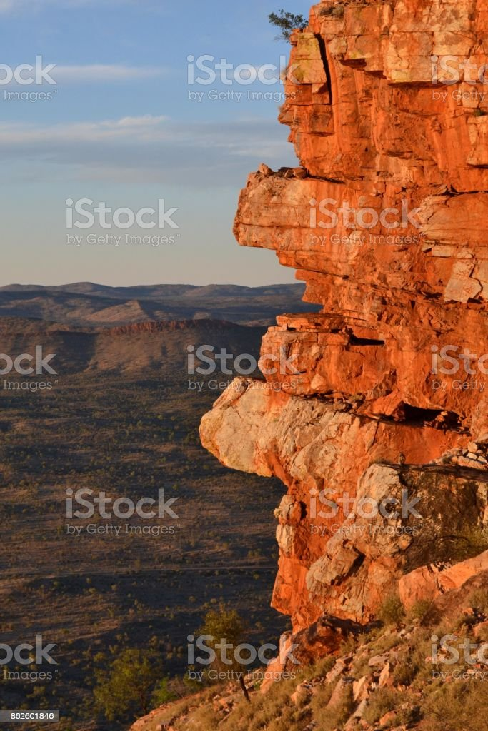 The view of mountain ranges around Alice Springs, Central Australia stock photo