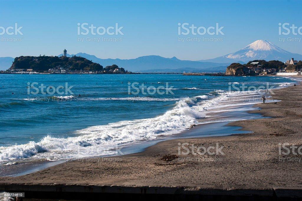 The view of Mt. Fuji and Enoshima in Shonan. stock photo