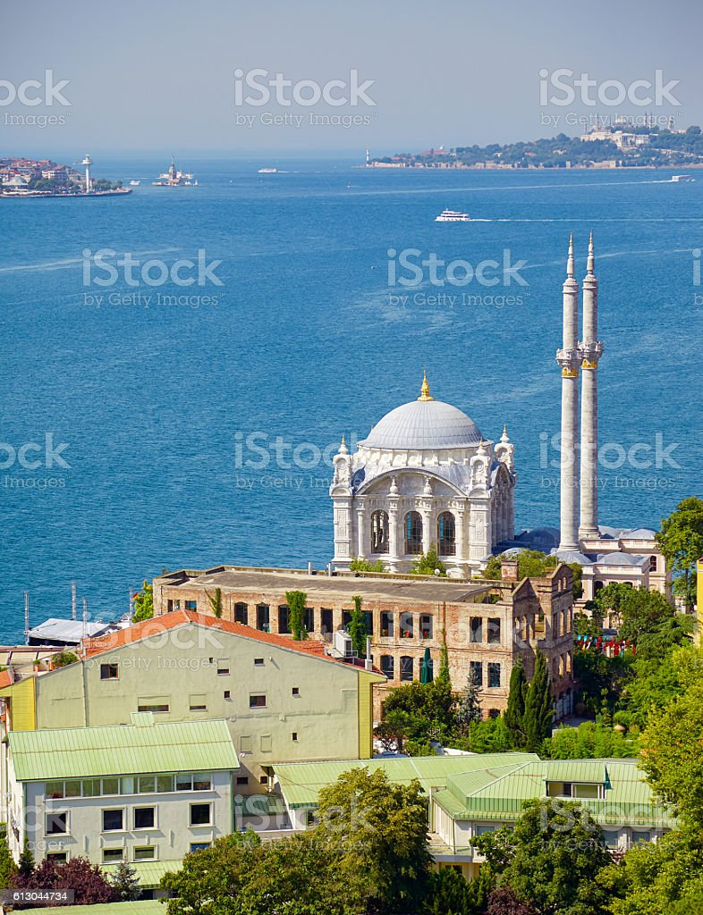 The view of Ortakoy Mosque against the Bosphorus background.  Istanbul stock photo