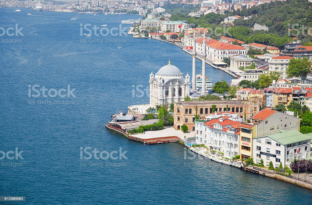 The view of Ortakoy Mosque from the Bosphorus bridge,  Istanbul stock photo