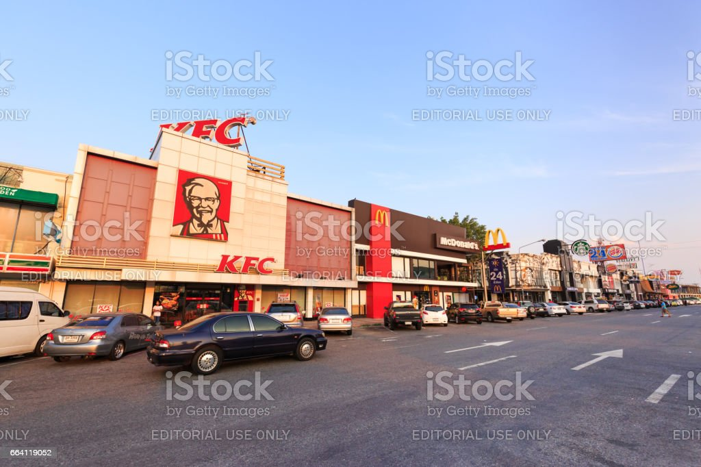 CHACHOENGSAO, THAILAND - APRIL 2, 2017 : The view of restaurents at Motorway Rest Area where located middle way to PATTAYA town in day time in Chachoengsao, Thailand. stock photo