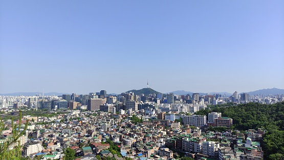 The view of Seoul with Namsan Tower in the distance