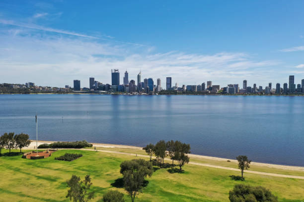The view of South Perth across the water from Sir James Mitchell Park in Perth Western Australia stock photo
