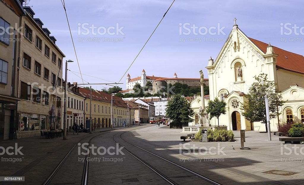 the view of street in Bratislava stock photo