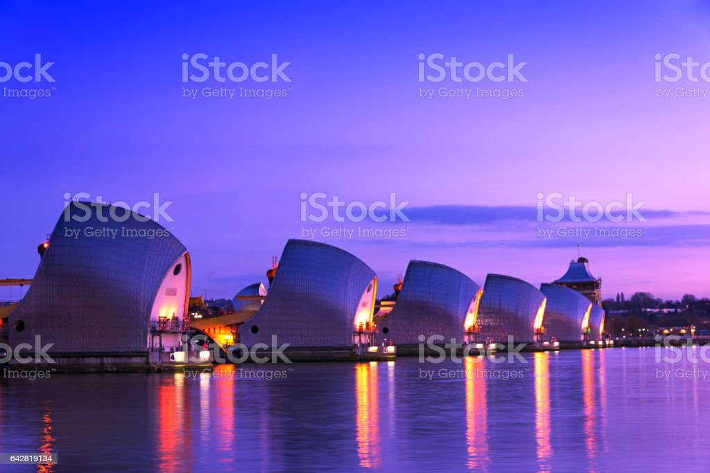 The View of Thames Barrier stock photo