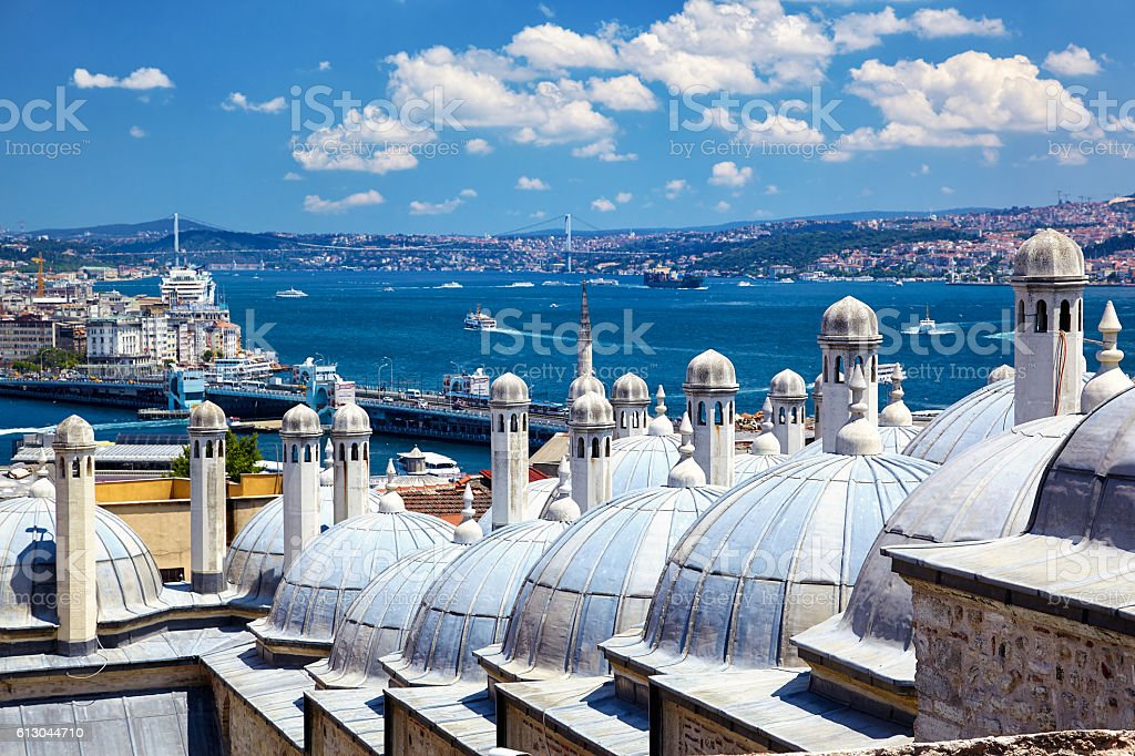 The view of the Bosphorus with the Bosphorus bridge from the Suleymaniye Mosque, Istanbul – Foto
