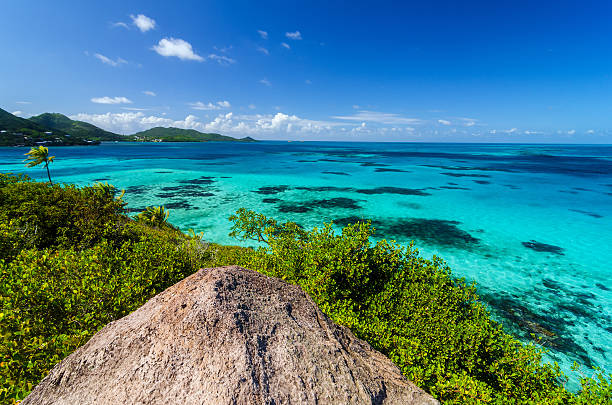 The view of the Caribbean ocean from the top stock photo