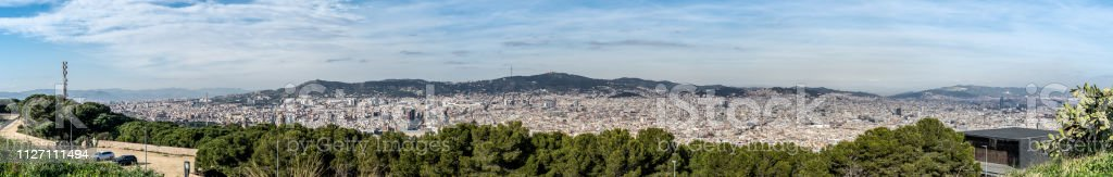 The view of the city Barcelona from Castell de Montjuïc, Spain stock photo