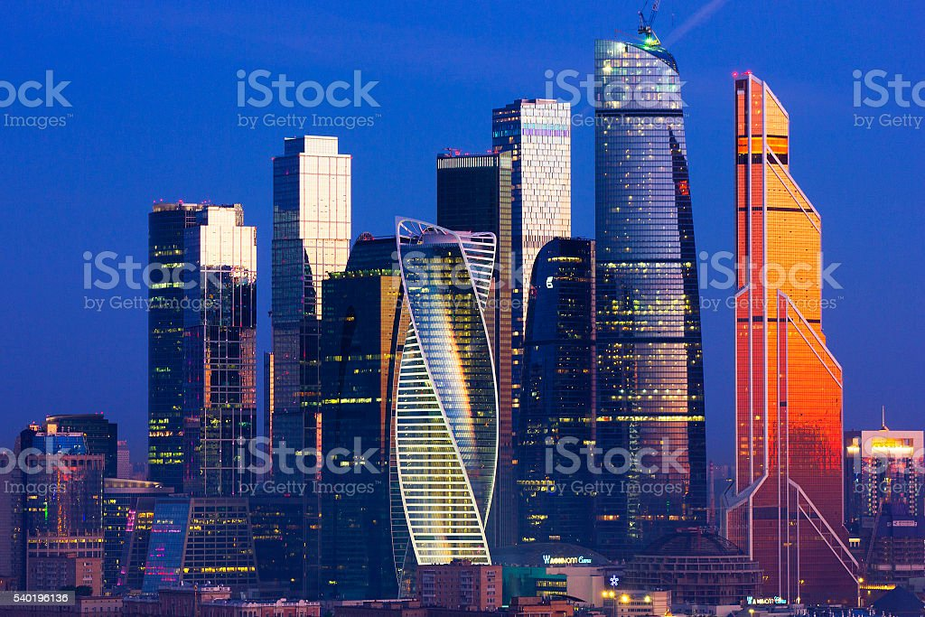 The view of the city from a tall building stock photo