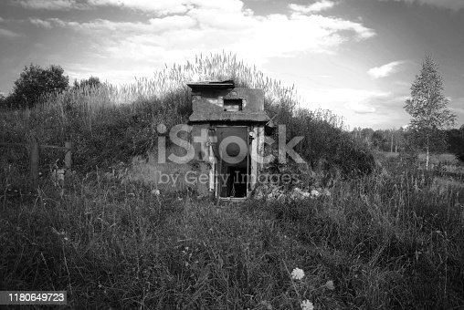 The view of the entrance to an abandoned Soviet military bunker
