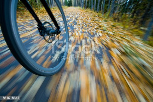 istock The view of the front wheel of a cyclo-cross commuter bike and the aspen leaves on a bicycle pathway in fall. 861018344