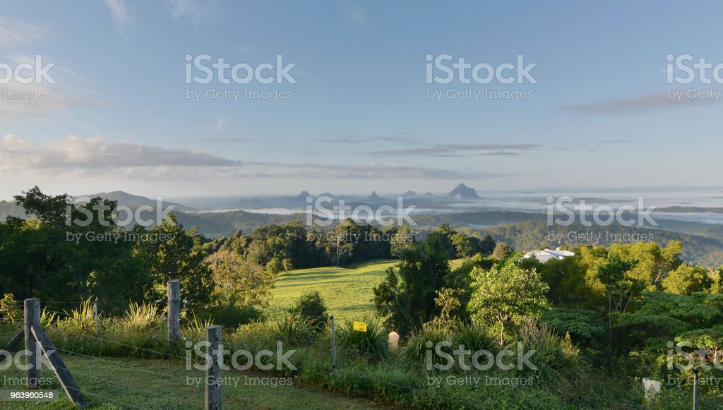 The view of the Glasshouse Mountains from Mary Cairncross Park, Queensland, Australia - Royalty-free Agricultural Field Stock Photo