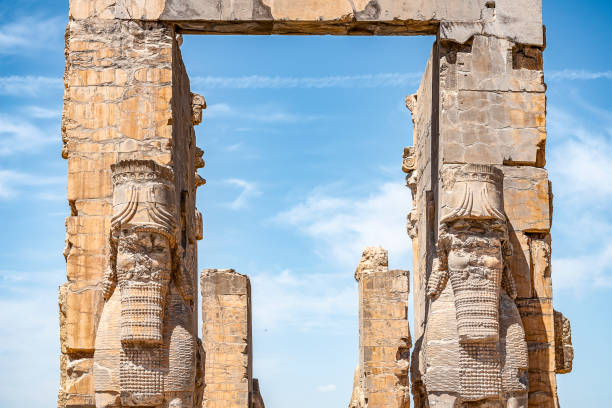 The view of the remaining ruins of the Gate of All Nations in Persepolis, the ancient capital of the Persian Persian Empire of the Hellenes, Province of Fars, Iran stock photo