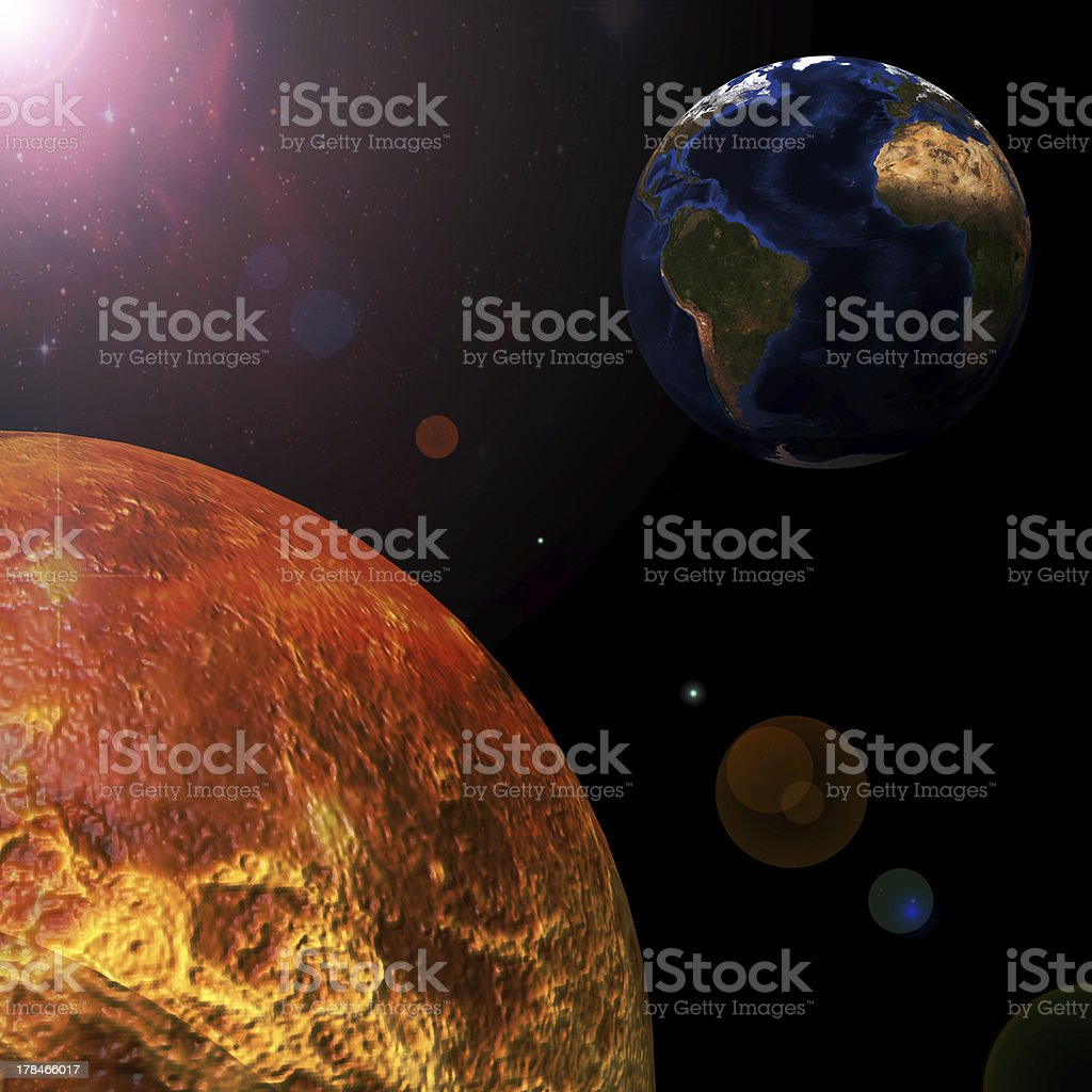 The view of the sun and Earth from space stock photo