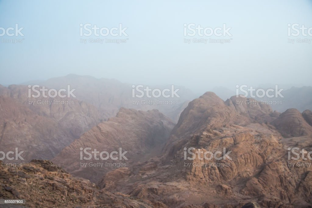 the view of the surrounding of Mount Sinai stock photo