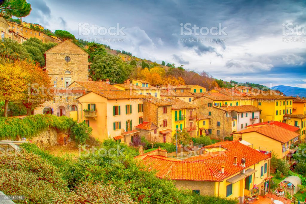 The view of the Tuscany city of Cortona, Italy stock photo