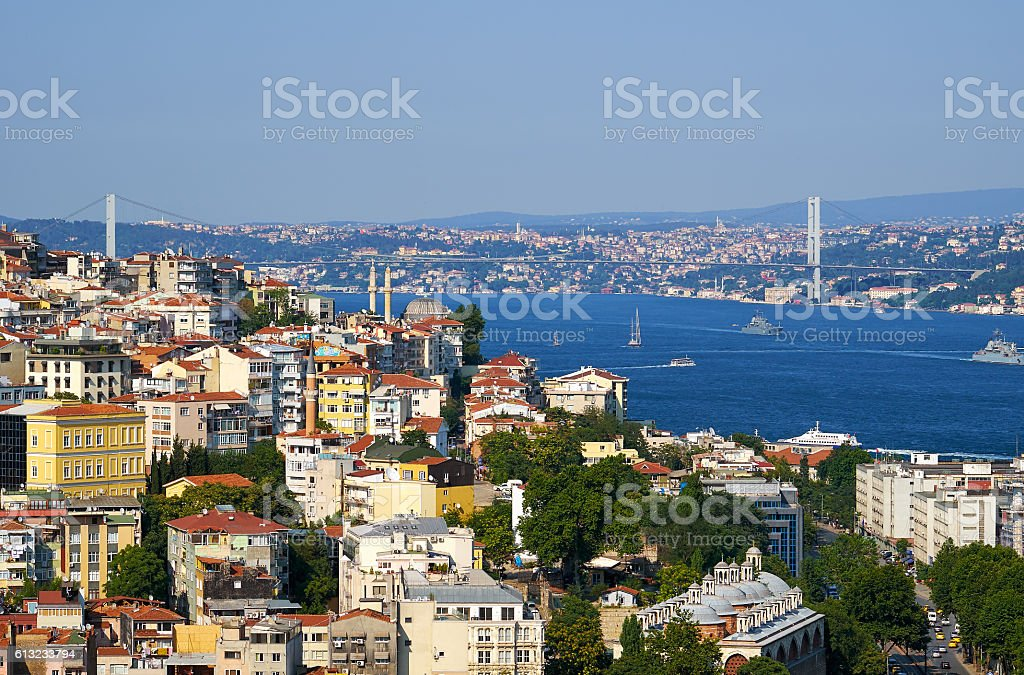 The view on  Bosphorus with Bosphorus bridge, Istanbul, Turkey – Foto
