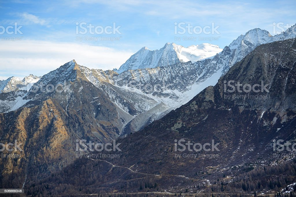 The view on Dolomiti mountains in Passo Tonale, Italy stock photo
