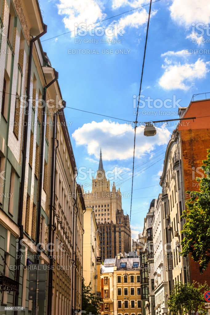 The view on Ministry of Foreign Affairs from Krivoarbatsky lane near Arbat street in Moscow, Russia. stock photo