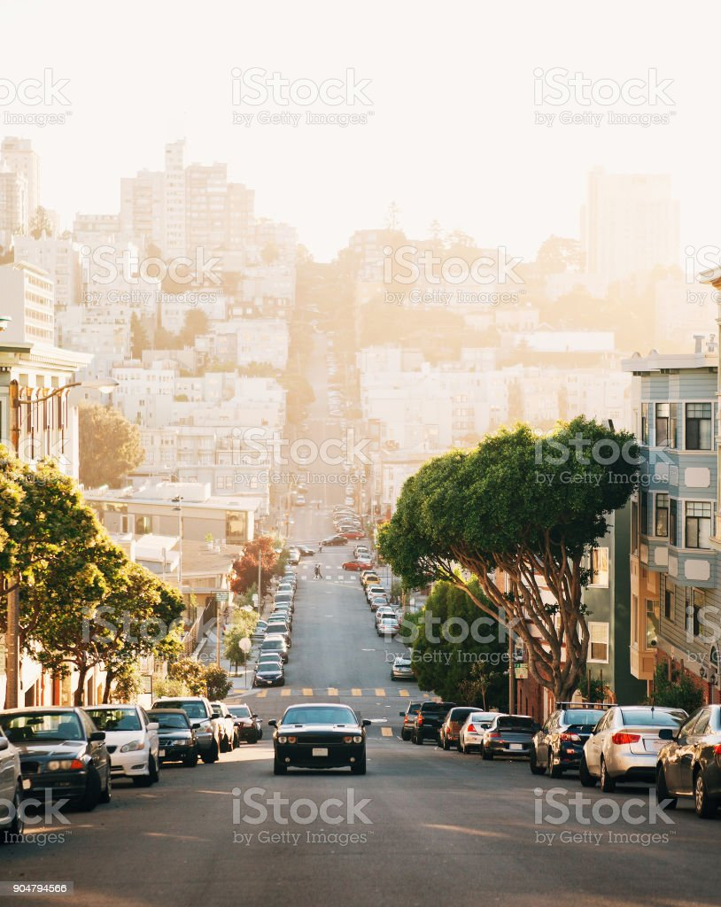 The view on street from the hill in San-Francisco. stock photo