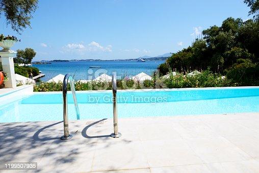 The view on swimming pool and beach, Corfu island, Greece