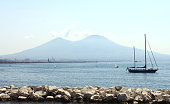 The view on the great Vesuvius, Naples, Italy.