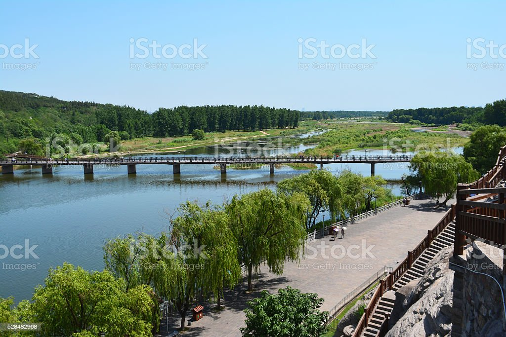 The view on the river in Luoyang stock photo