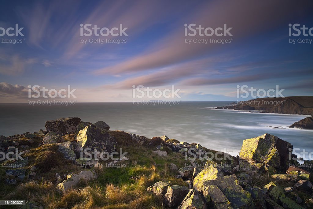 The view over Hartland Quay stock photo