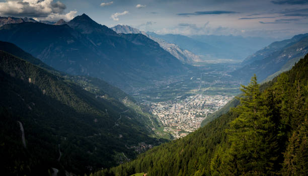 The view over Martigny-Combe Switzerland stock photo