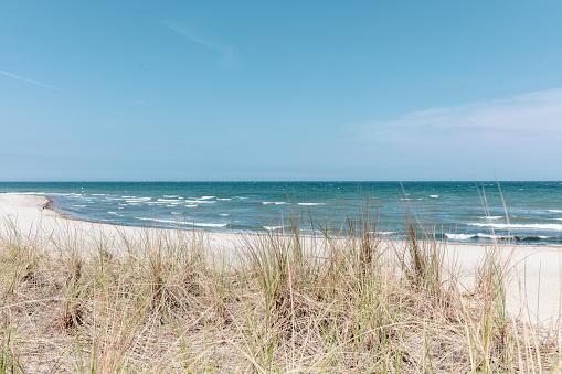 the view over the dune of the Baltic Sea in beautiful weather